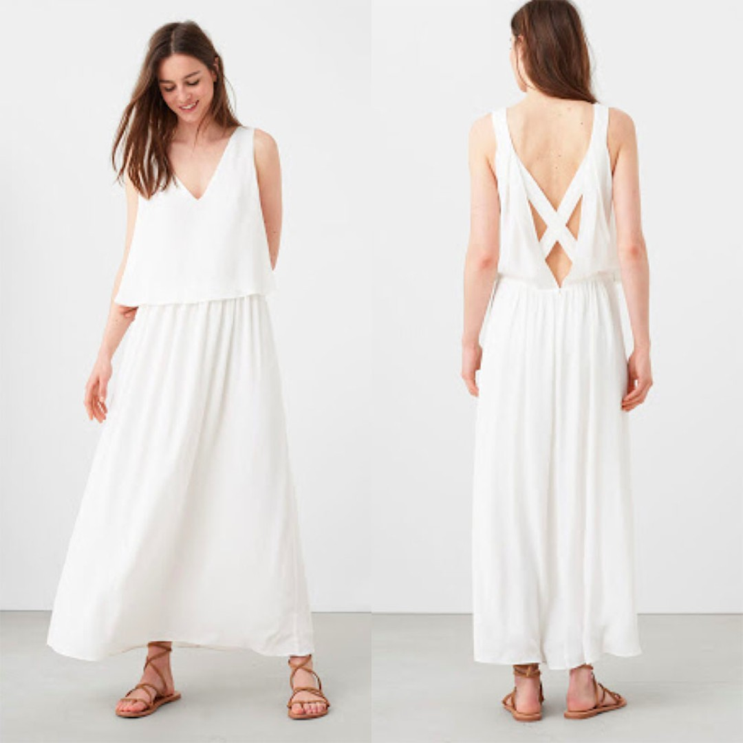 MANGO White Crossback Maxi / Long Dress Beach Wedding XS Small Semi ...