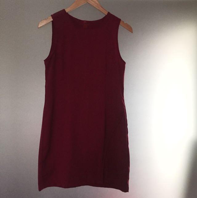 Maroon Basic Dress
