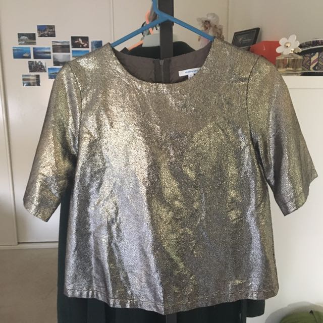 Metallic Boxy Shirt Top Size 8 Valleygirl