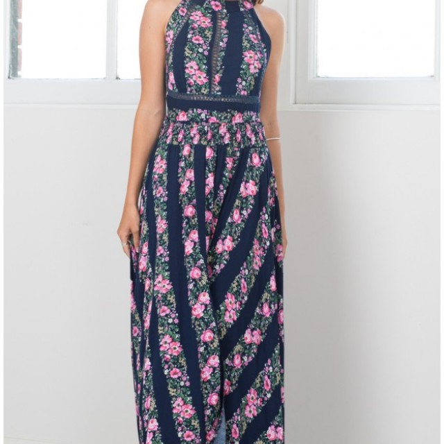 Navy Floral Maxi Dress #100cash
