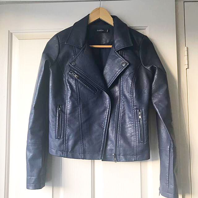 NEW Glassons Navy faux leather jacket