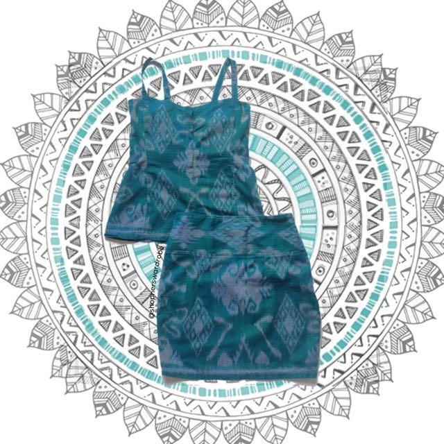 NEW SET Tenun top + skirt