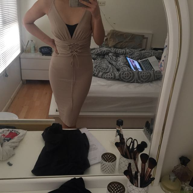 Nude slinky dress
