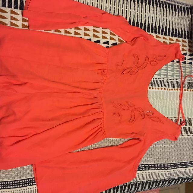 Peach long sleeve Jumpsuit