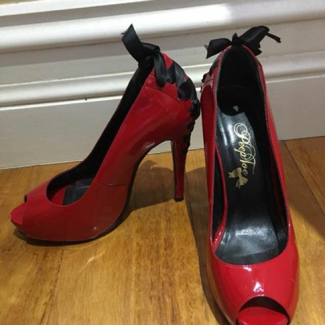 """Peeptoe"" Miss Blooms Leather High Heels Size 6"