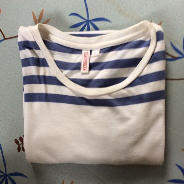 Penshoppe White and blue striped shirt