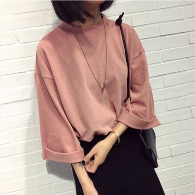 Pink autumn oversized tops