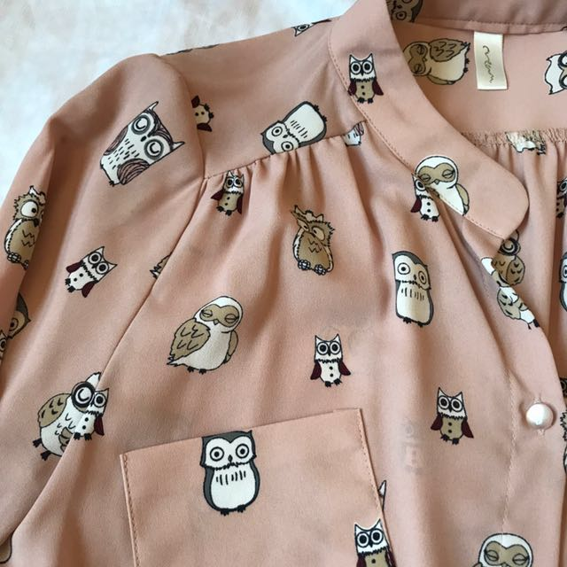 Pink owl button up