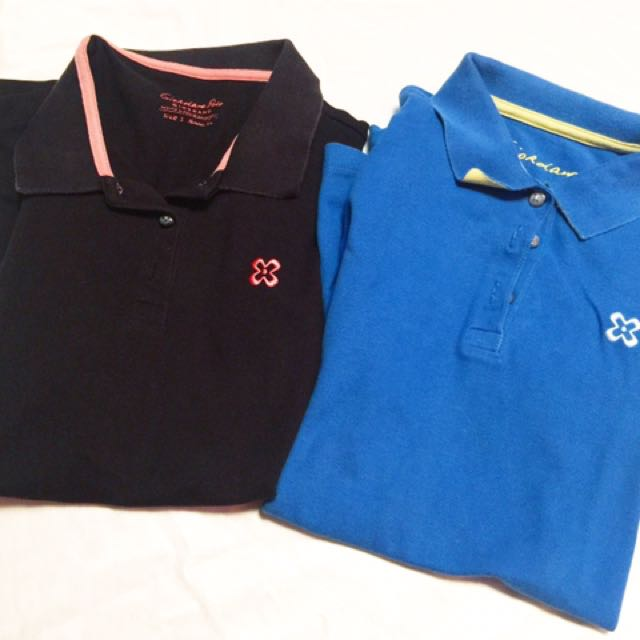 Polo giordano woman black and blue / preloved baju polo / polo kuliah cewek / baju kuliah murah