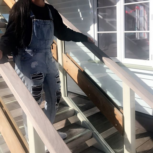 Ripped Jean Overalls