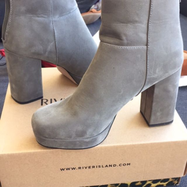 River Island Grey Suede Boots (Never Worn)