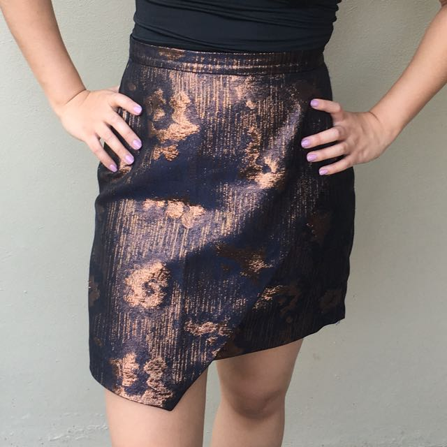 Rose gold/Navy Metallic Mini Skirt