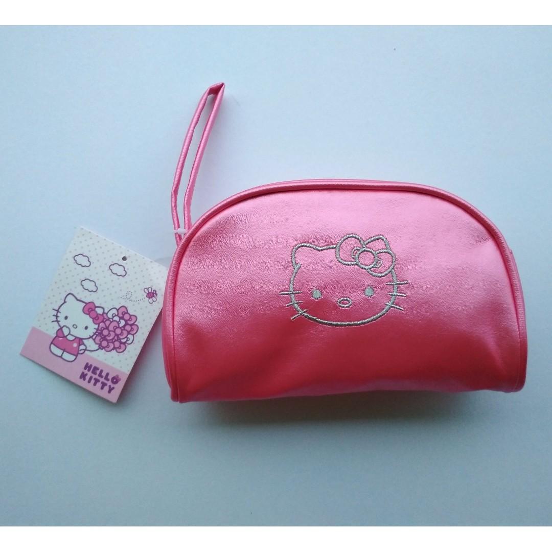 Sanrio Hello Kitty Metallic Pink Cosmetic Pouch / Wristlet