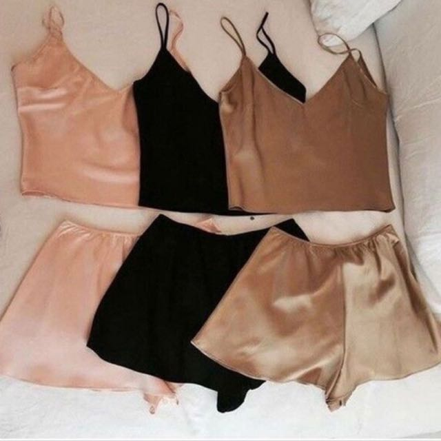 Satin Crop Top & Short Sleepwear/ Nightwear Set