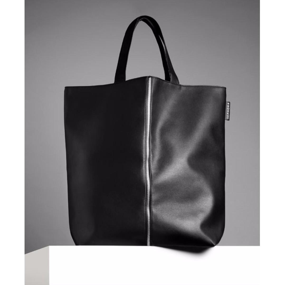 SEPHORA Black PU Leather Zippered Designed Large Tote Bag