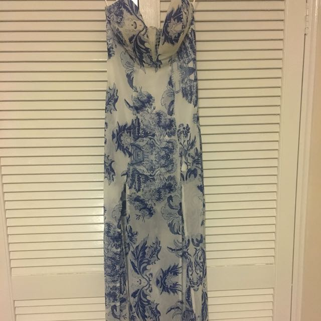 Showpo maxi dress blue and white with splits