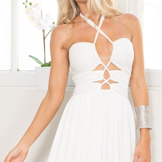 Showpo White Halter Dress #100cash