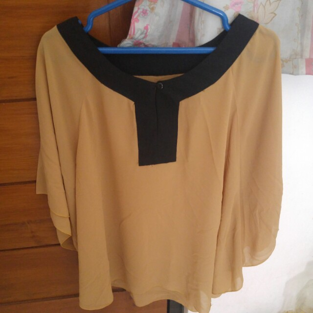 Soft brown batwing top