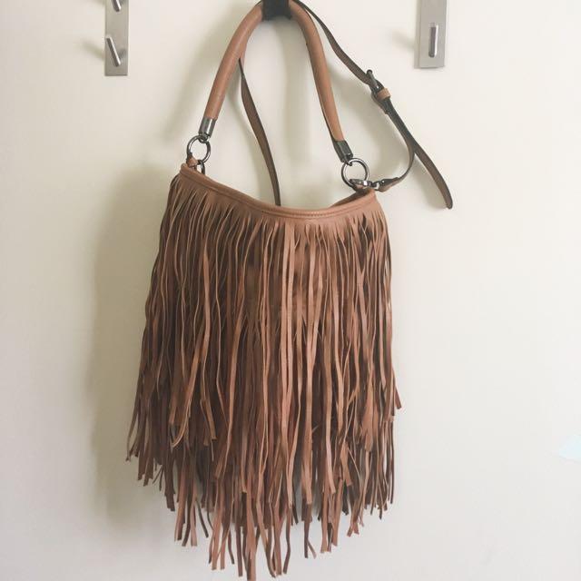 sportsgirl tan pleather fringed bohemian handbag with detachable strap
