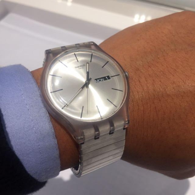swatch silver strap