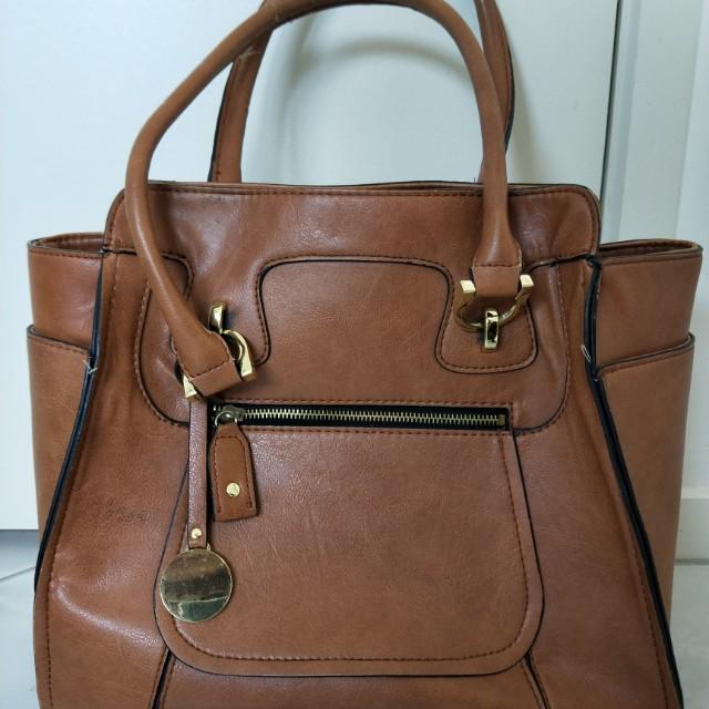 Tan faux leather bag