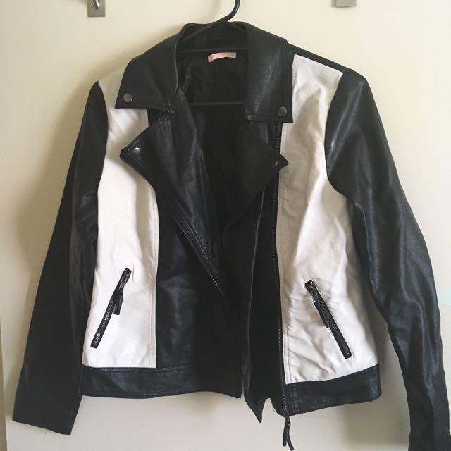 target black and white pleather leather style biker jacket, women's size 14
