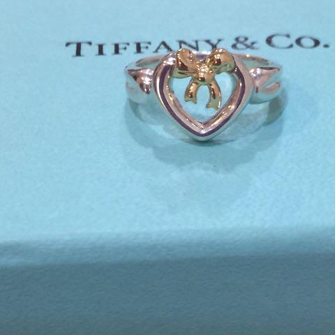 二手真品TIffany&Co 750K金 925銀 經典金蝴蝶結戒指