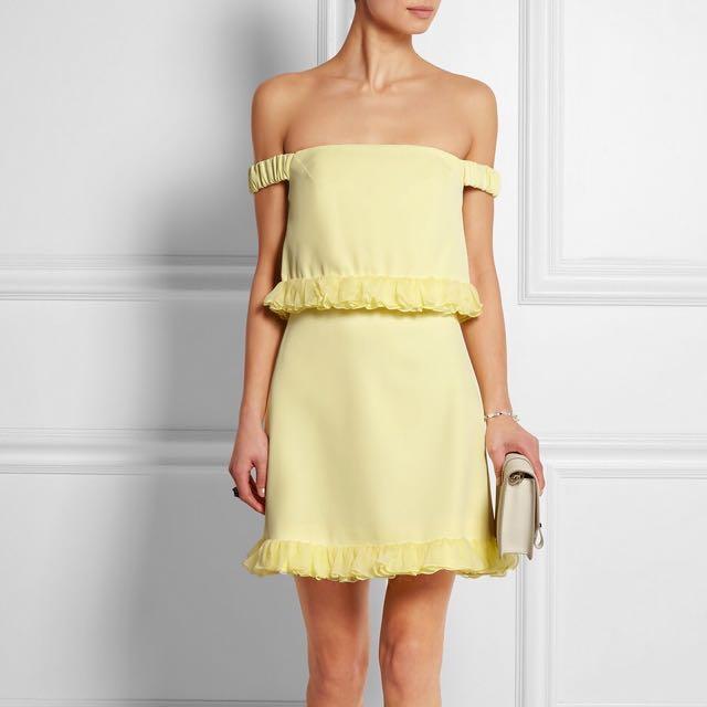 Topshop unique yellow ruffle dress