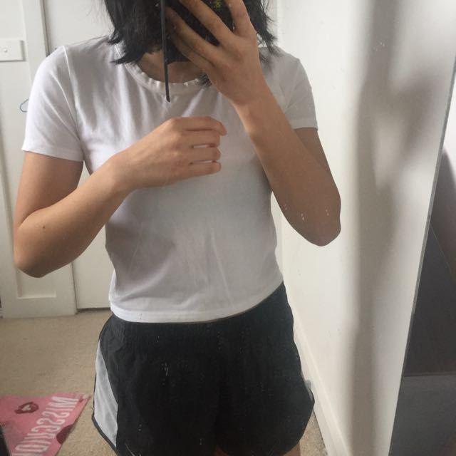 Topshop White Basic Crop Top T-shirt