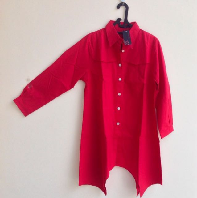 Tunik Denim Red Light (Merah)