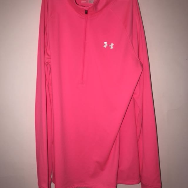 Under armour pink zip up sweater