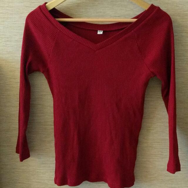 UniQlo Ribbed Ballet Neck ¾ Sleeve T-shirt