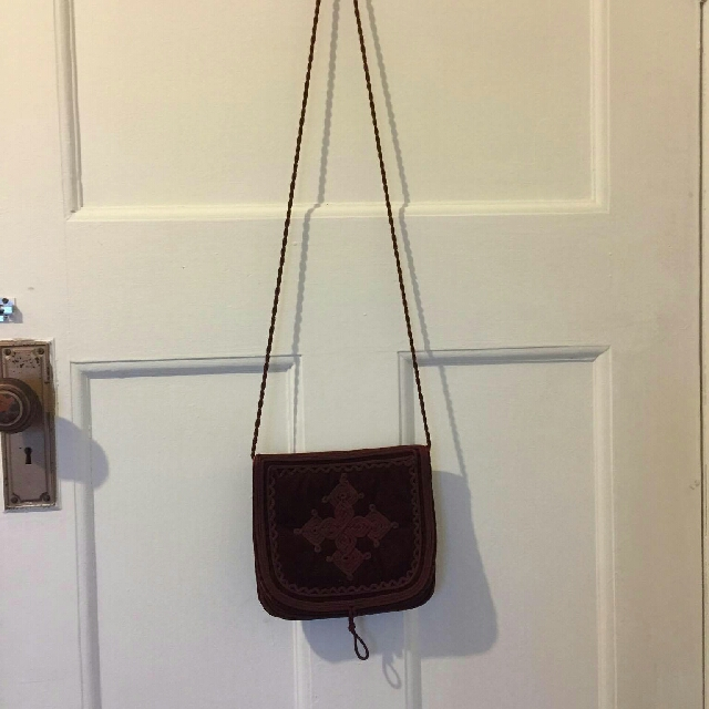 vintage red velour shoulder bag