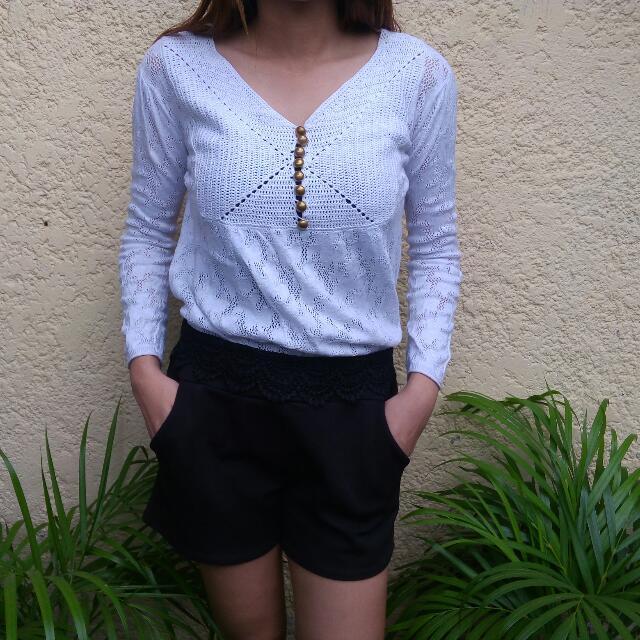 White Crochet Blouse Top
