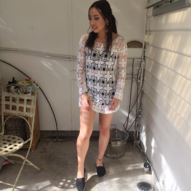 White crotchet dress