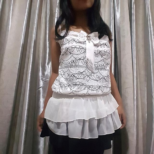 White semi formal top with lace outer
