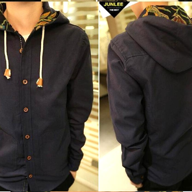Yesstyle Buttoned Hooded Drawstring Jacket in Dark Blue