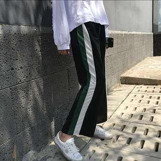 原宿風百搭復古綠邊寬褲