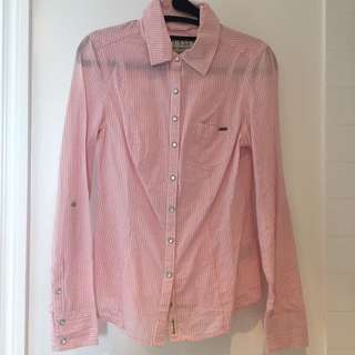 Guess pink button up shirt size XS