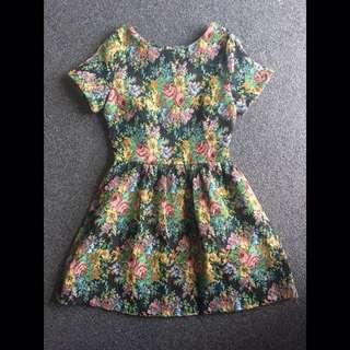 Embroidered Floral Skater Dress - Size 8