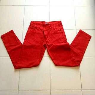 Celana / Jeans Merah Bata Preloved
