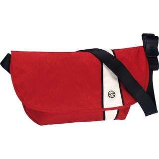 authentic crumpler western lawn bag medium dark red and white black trim