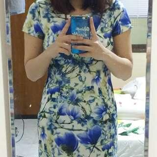 Blue Flower Slim Dress