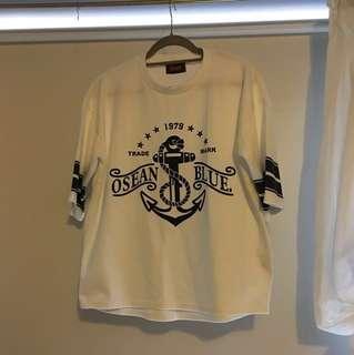 white and black Osean Blue print shirt