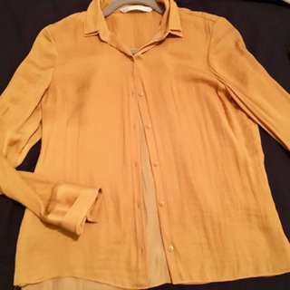 Golden Silk Blouse Zara Xs