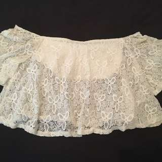 Off Shoulder Cream Lace Crop Top