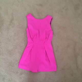 TopShop Fuchsia Pink Romper with Lace and Low Back