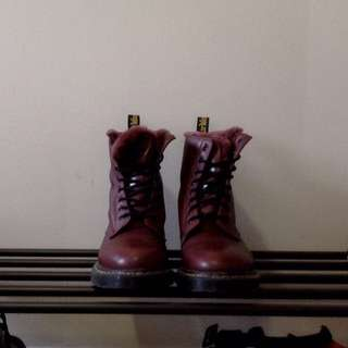 Authentic Dr Martens Cherry Red Fur Lined Serena Boots