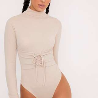 PRETTY LITTLE THING Nude Corset Long sleeve Thong Bodysuit