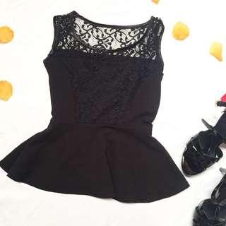 Brocade peplum top / atasan hitam lace / preloved stradivarius / preloved zara / preloved guess / preloved bonia